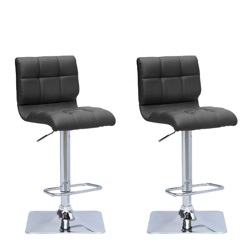 Black Bonded Leather Adjustable Bar Stool (Set of 2)  sc 1 st  RC Willey & Black Bonded Leather Adjustable Bar Stool (Set of 2) | RC Willey ...