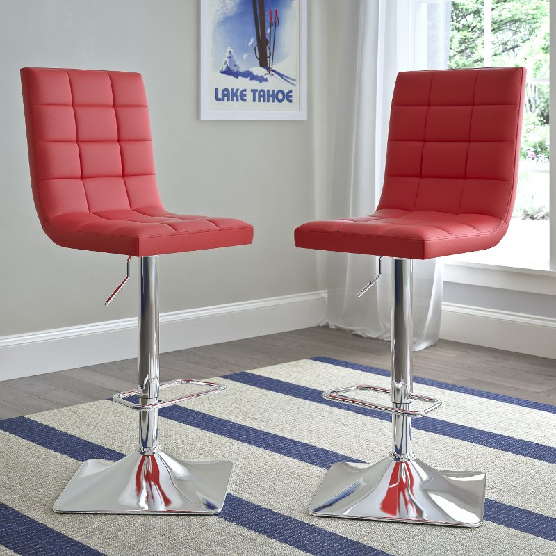 Swell Red Leather Upholstered Adjustable Bar Stool Set Of 2 Unemploymentrelief Wooden Chair Designs For Living Room Unemploymentrelieforg