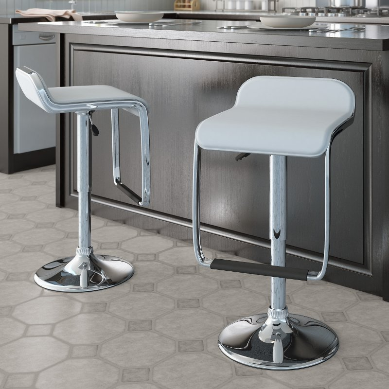 White Adjule Bar Stool With Footrest Set Of 2