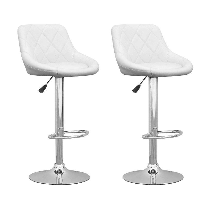 Peachy White Diamond Back Adjustable Bar Stool Set Of 2 Machost Co Dining Chair Design Ideas Machostcouk
