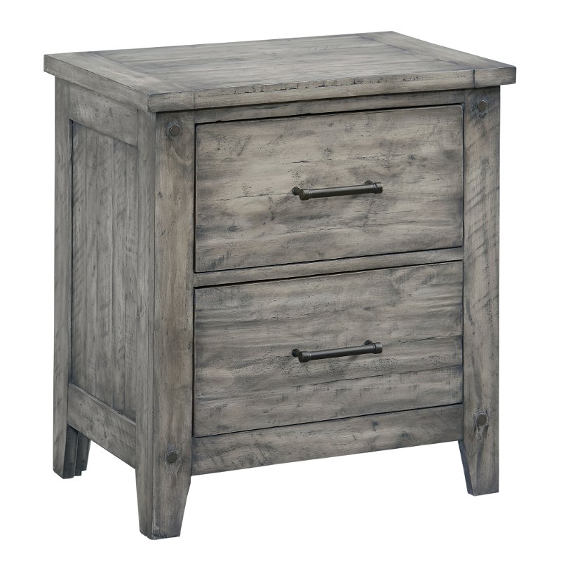 Rc Wiley Reno: Rustic Casual Gray Nightstand - Nelson