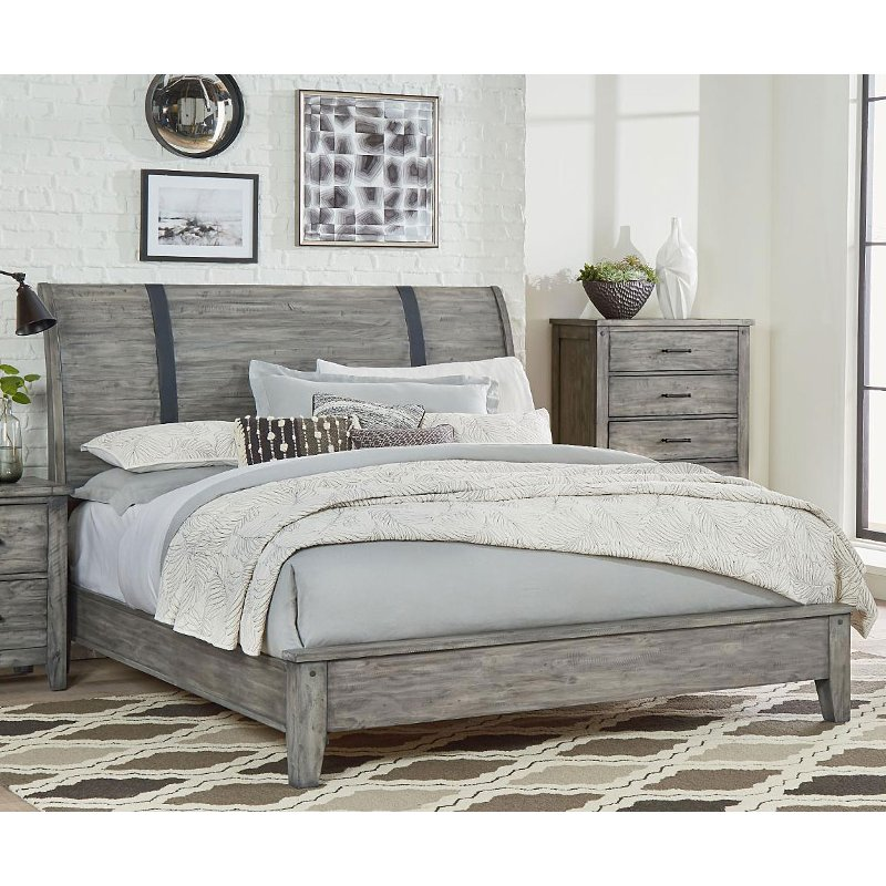 Rustic Casual Gray California King Sleigh Bed