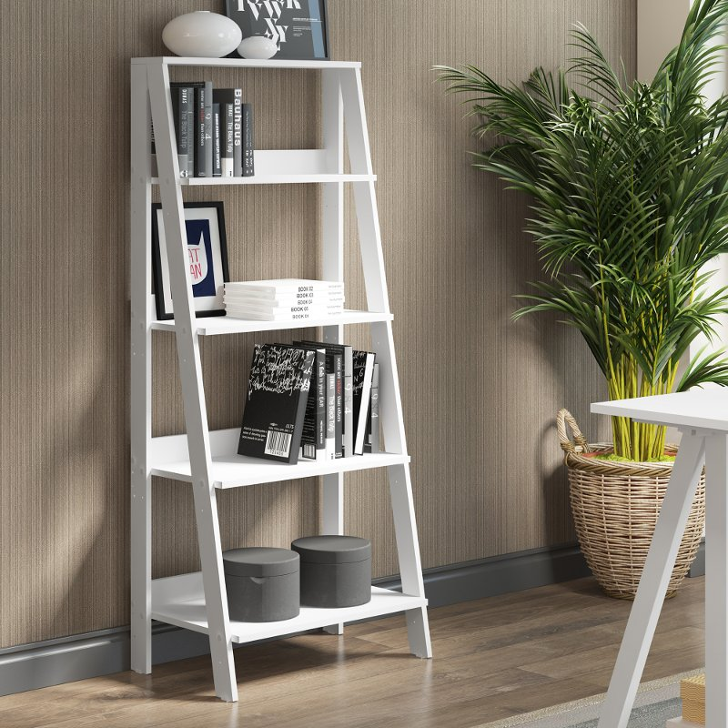 White Wood Ladder Bookcase 55 Inch