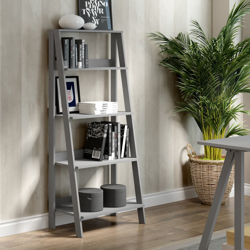 Gray Wood Ladder Bookcase 55 Inch Rc Willey Furniture Store