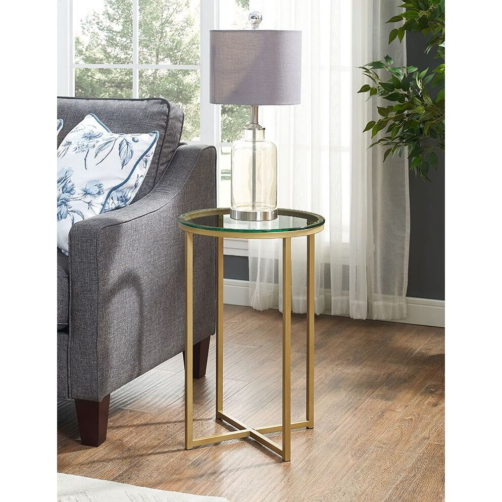 16 Inch Glass and Bronze Round Side Table | RC Willey Furniture Store