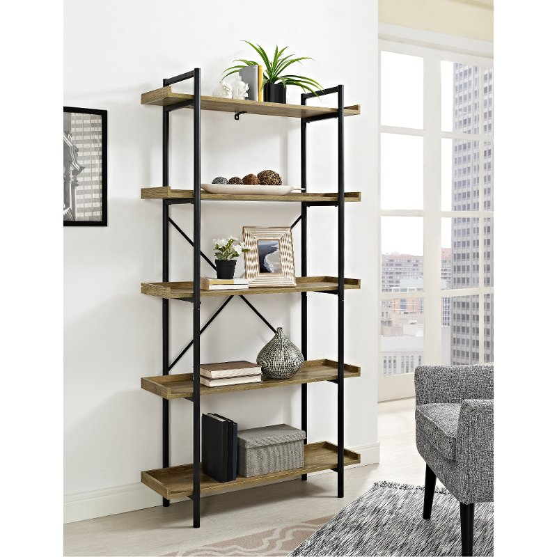 Black Pipe Barnwood 5 Shelf Bookshelf 68 Inch