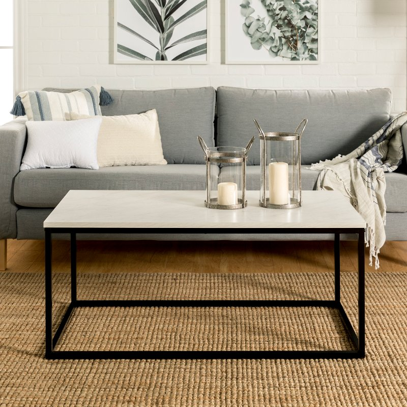 Modern 42 Inch Coffee Table White Marble Rc Willey Furniture Store