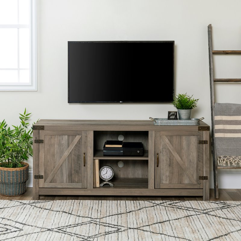 Gray Barn Door Tv Stand 58 Inch Rc Willey Furniture Store