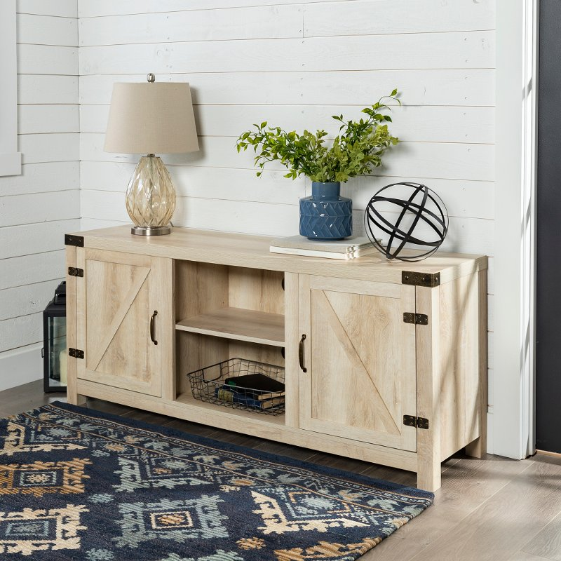 White Oak Barn Door Tv Stand 58 Inch Rc Willey