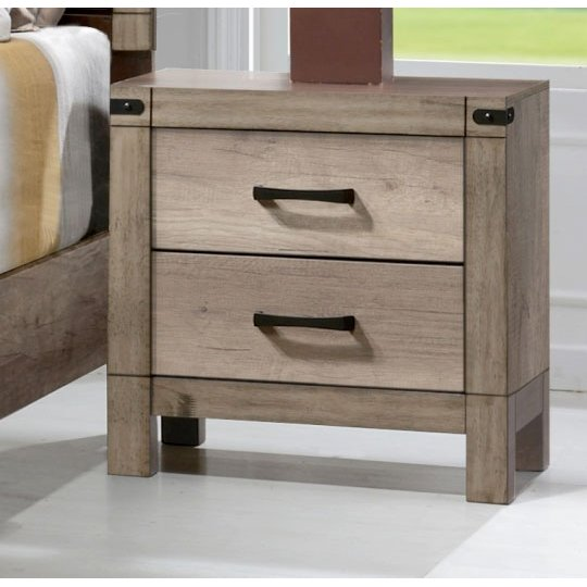 Rustic Contemporary Antiqued White Nightstand - Matteo - Rustic Contemporary Antiqued White Nightstand - Matteo RC Willey