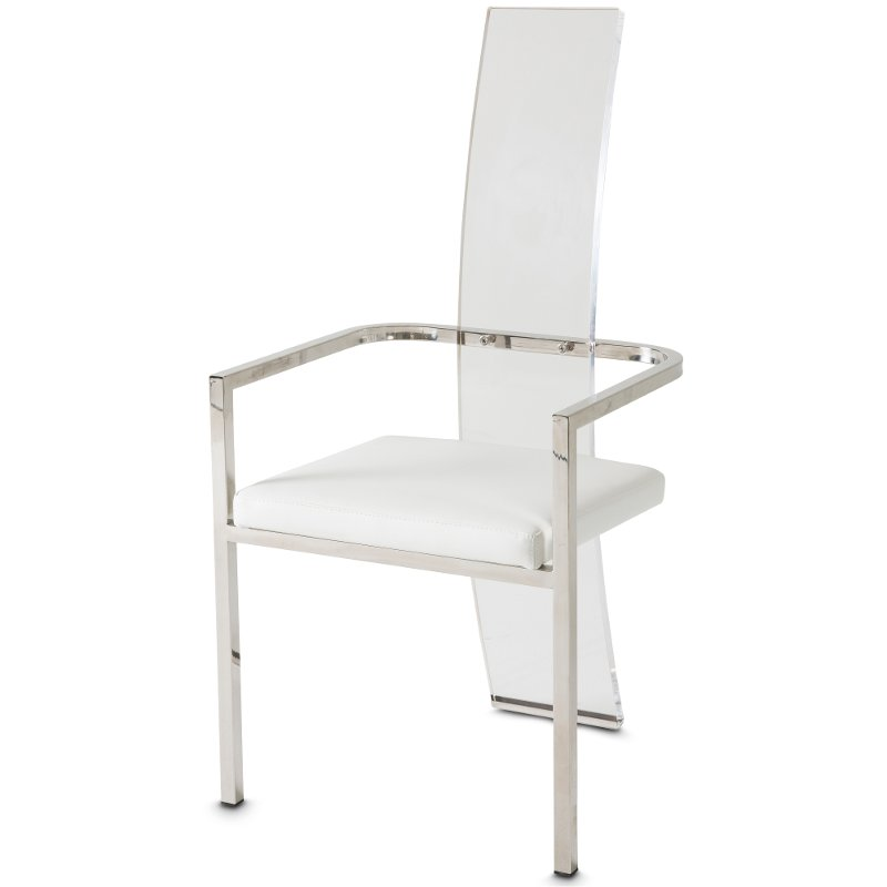 Chrome Dining Room Chairs: Chrome And White Modern Dining Arm Chair