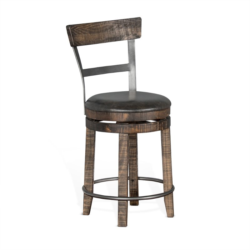Tobacco brown swivel counter height stool barrel