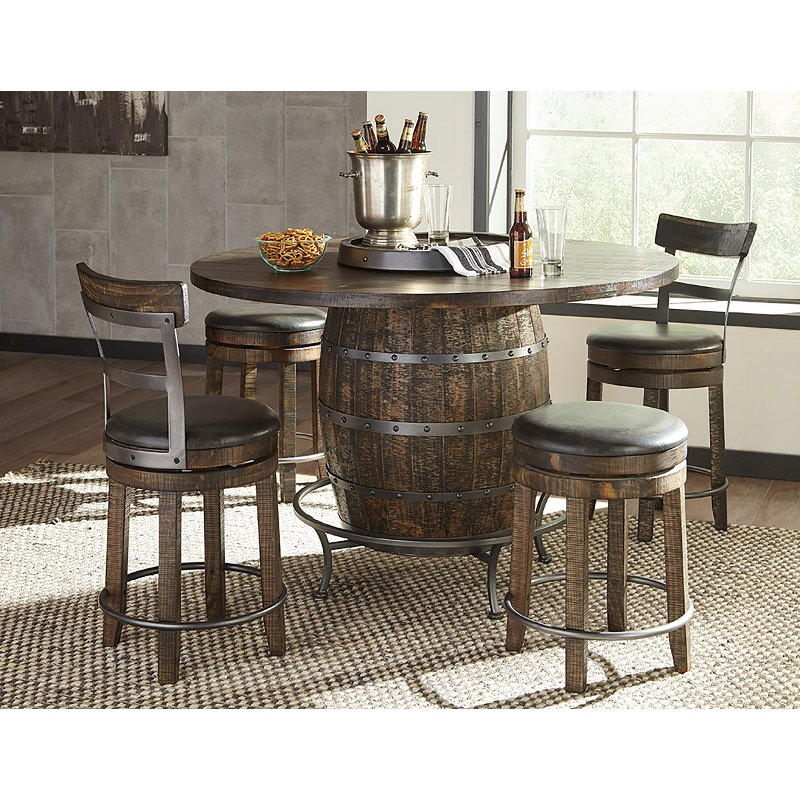 Bar Stool Dining Set: Brown 5 Piece Counter Height Dining Set With Backless Bar