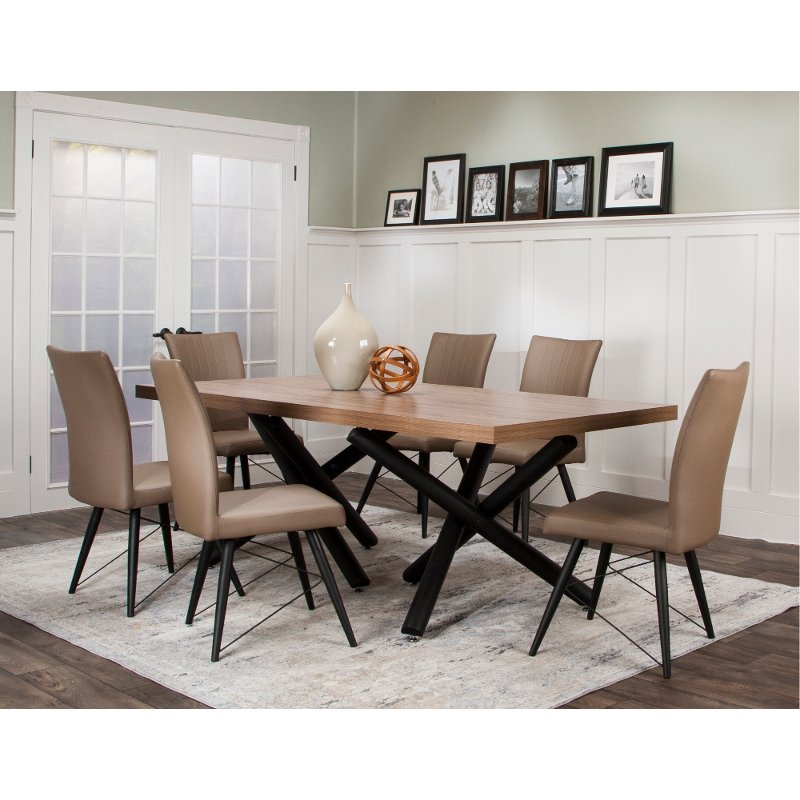 Dining Room Sets Clearance: Putty And Black Modern 7 Piece Dining Set - Empire