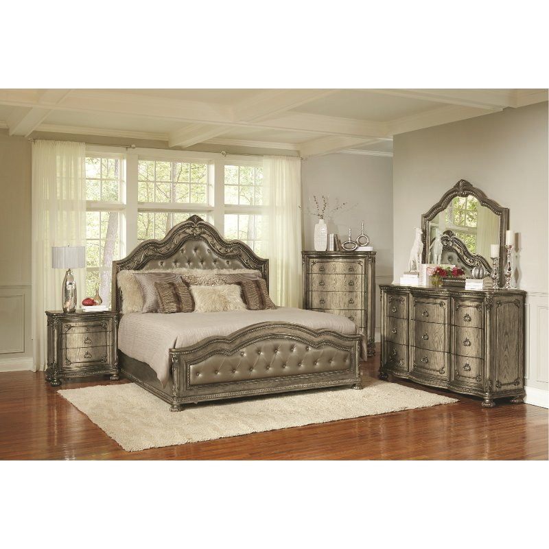 Traditional Platinum Gold 6 Piece Queen Bedroom Set - Seville | RC ...
