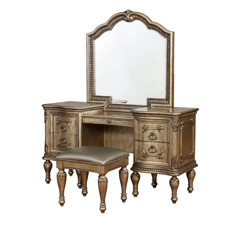 3 Piece Vanity Set.Traditional Platinum Gold 3 Piece Vanity Set Seville