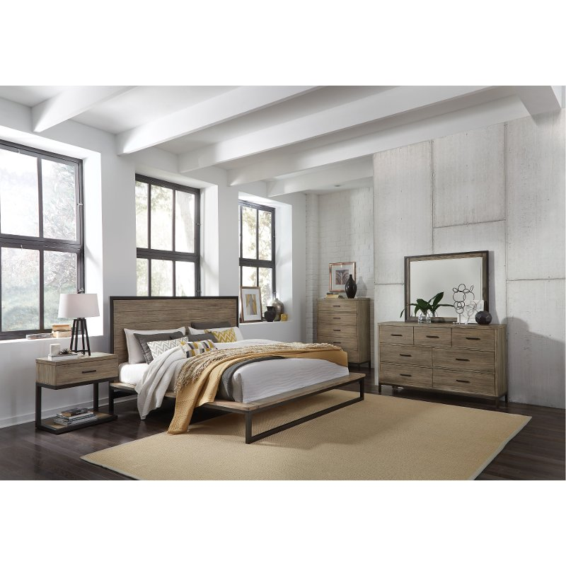 Industrial Modern Pine U0026 Metal 4 Piece Queen Bedroom Set   Edgewood | RC  Willey Furniture Store
