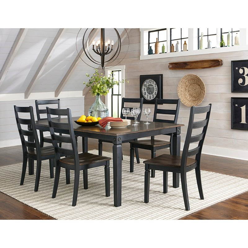 Black And Charcoal Brown 5 Piece Dining Set   Glennwood   RC Willey  Furniture Store