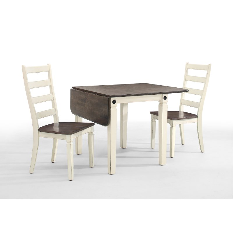 Marvelous White And Charcoal Brown 3 Piece Drop Leaf Dining Set   Glennwood