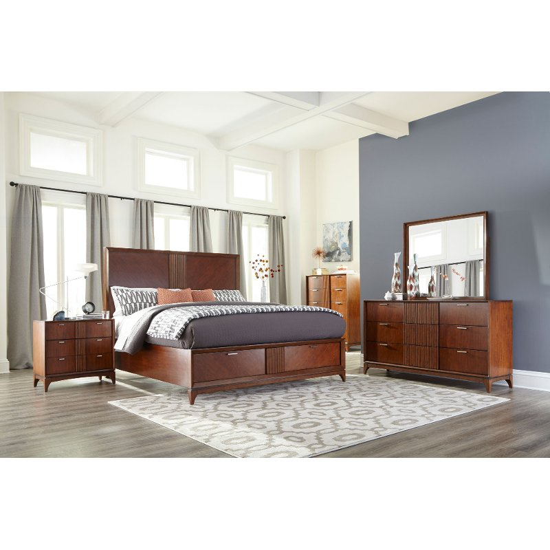 Brown modern 6 piece king bedroom set simply urban rc - Porter contemporary 6 piece bedroom set ...