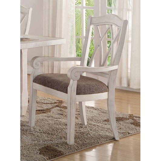 Brushed White Lattice Back Dining Arm Chair   Scottsdale Collection