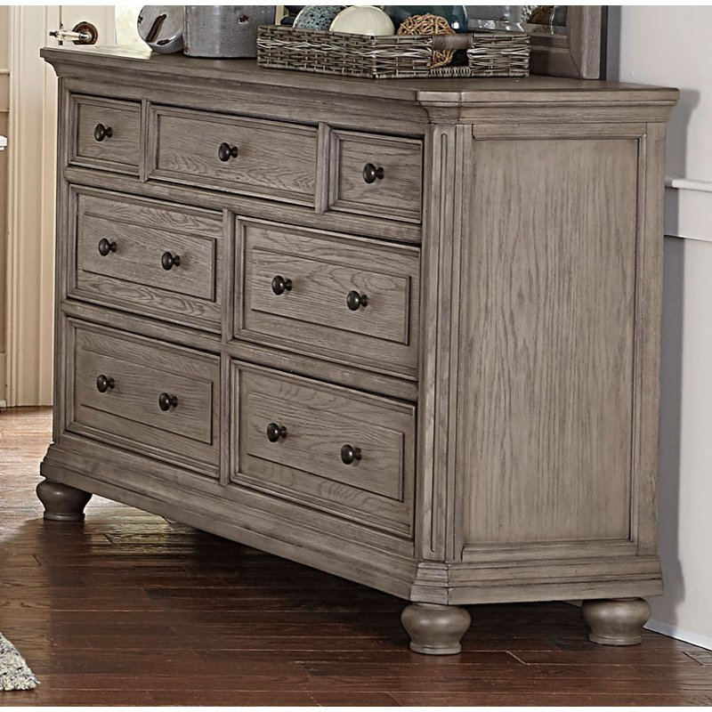 Rc Willey Dressers: Traditional Gray Oak Dresser - Lavonia