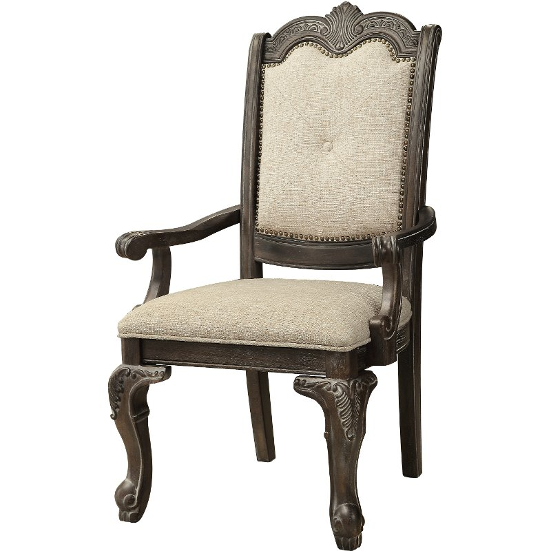 Willey Furniture: Washed Gray And Beige Upholstered Arm Chair