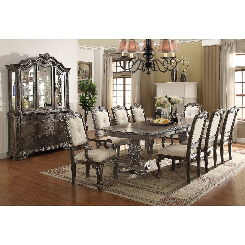 Old World Living Room Furniture: Washed Gray Old World 5 Piece Dining Set
