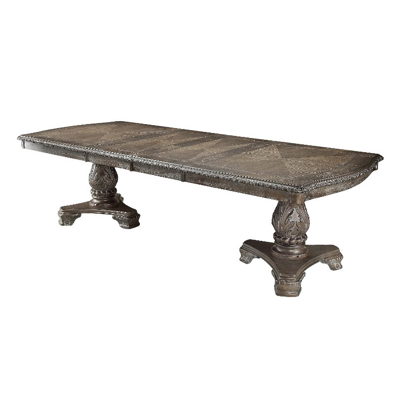 Washed Gray Ornate Double Pedestal Dining Table Kiera