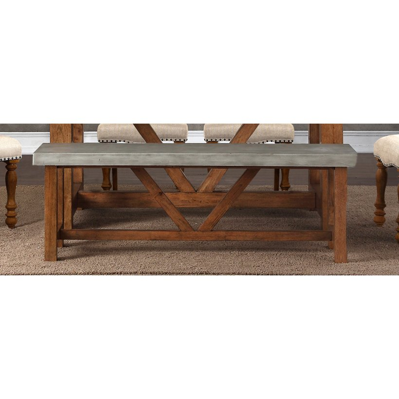 Faux Cement And Natural Dining Bench   Bohemian | RC Willey Furniture Store