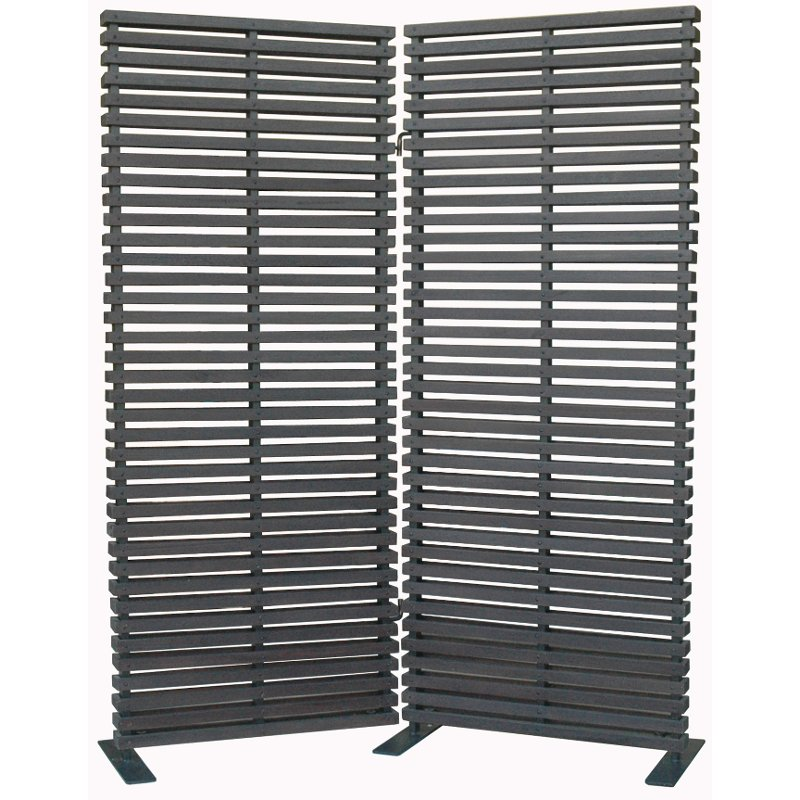 Black 2 Panel Wood and Aluminum Screen Room Divider RC Willey