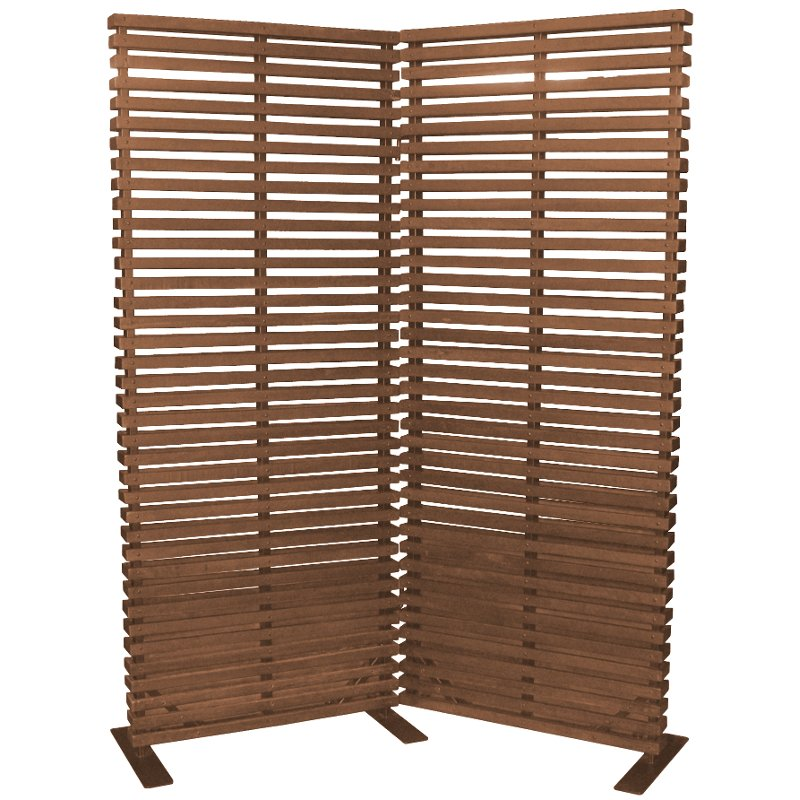Brown Wood and Aluminum 2 Panel Screen Room Divider RC Willey