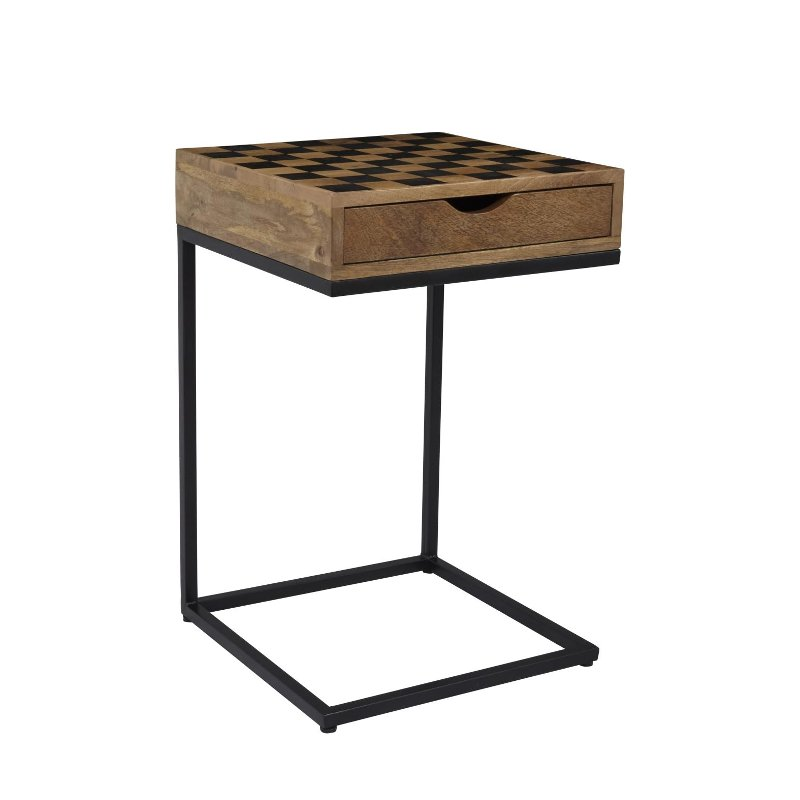 checkerboard c-shaped table