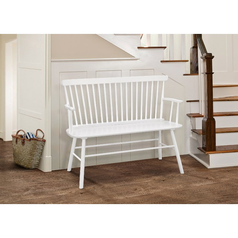 Groovy White Spindle Back Bench With Armrests Beatyapartments Chair Design Images Beatyapartmentscom