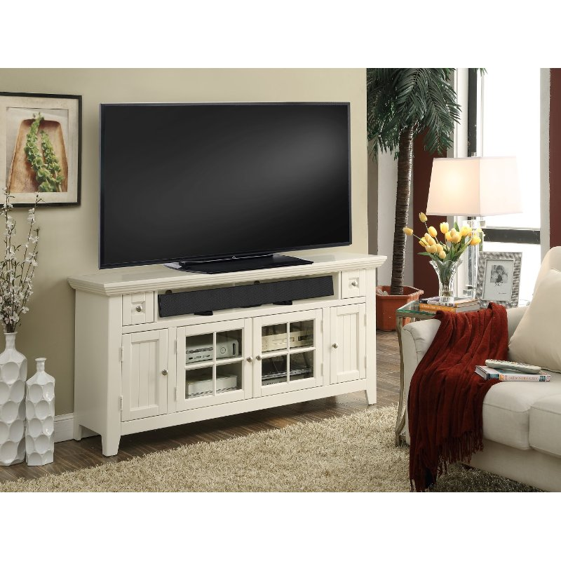 62 Inch Modern Country White Tv Stand Tidewater Rc Willey Furniture