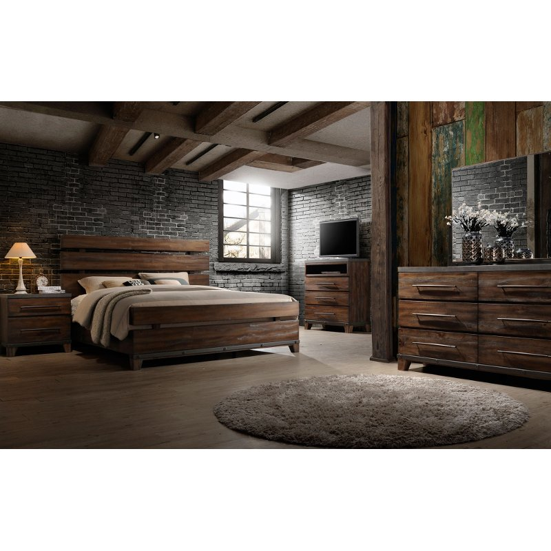 Modern rustic brown 6 piece king bedroom set forge rc - Contemporary king bedroom furniture ...