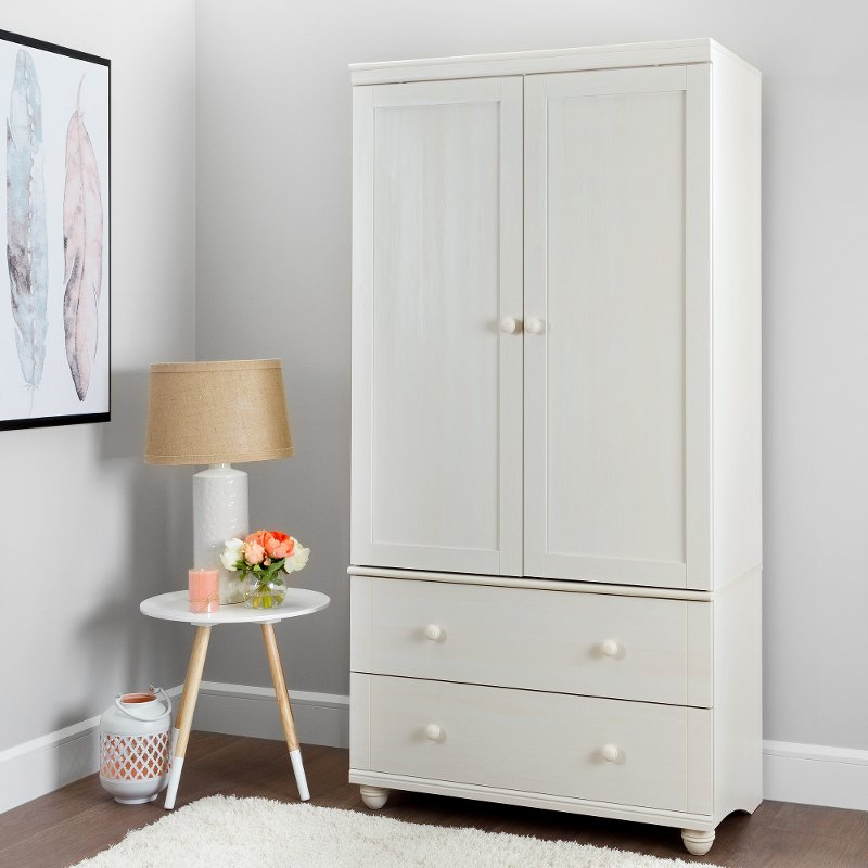 White Wash Storage Armoire With 2 Drawers   Hopedale | RC Willey Furniture  Store
