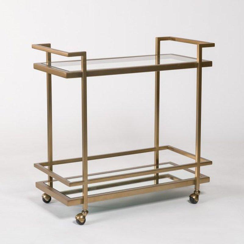 Antique Brass Bar Cart With Glasirror Shelf