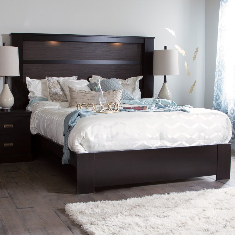 Chocolate Platform Bed with Headboard - Gloria