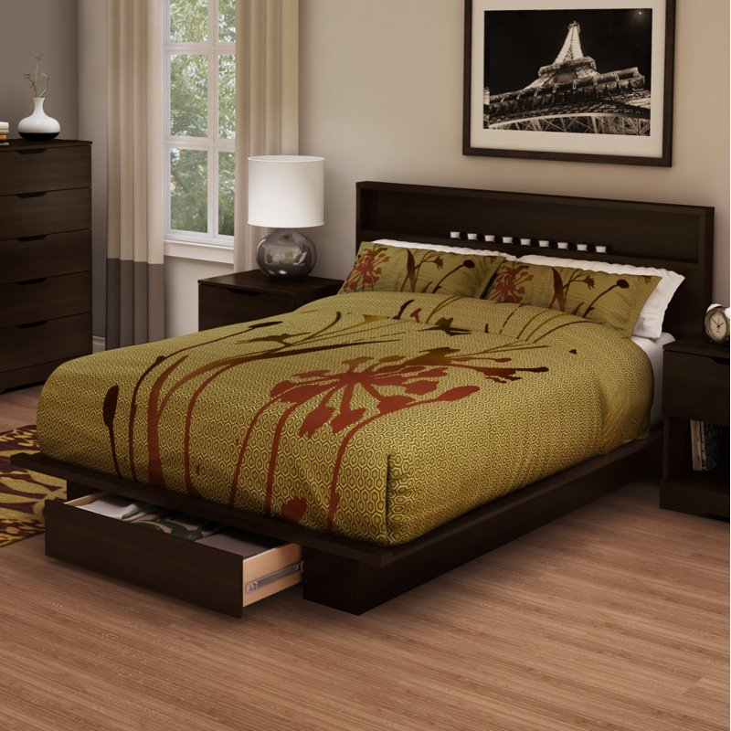 Chocolate Full/Queen Platform Bed And Headboard Set   Holland | RC Willey  Furniture Store