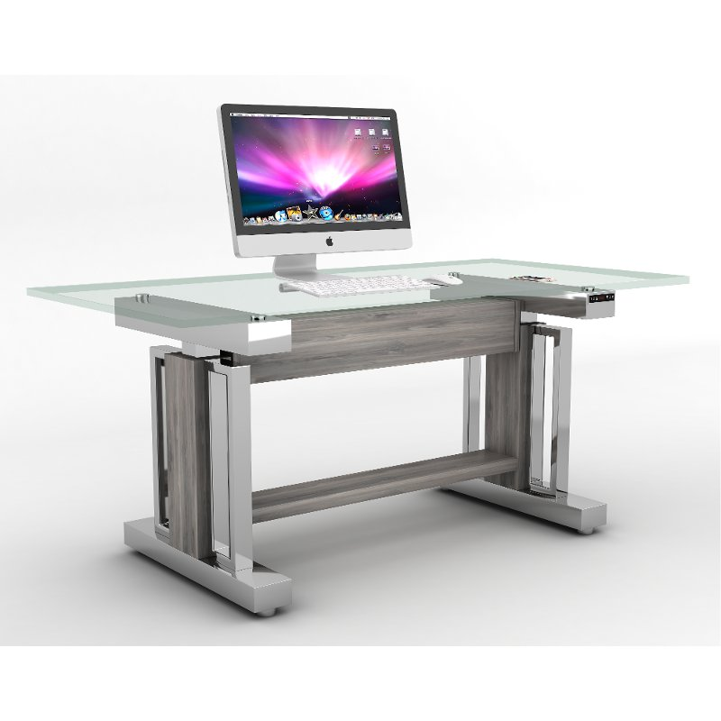 66 Inch Glass And Chrome Sit Stand Desk