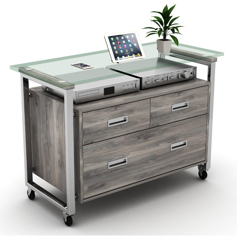 glass and chrome 3 drawer lateral file cabinet | rc willey furniture