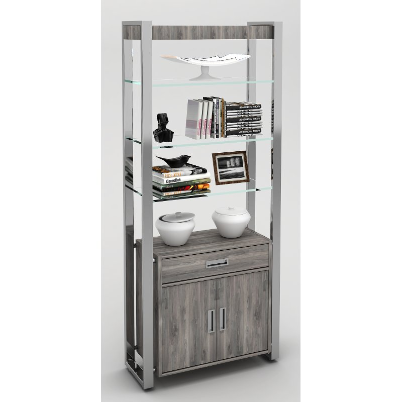 Glass And Chrome Bookcase