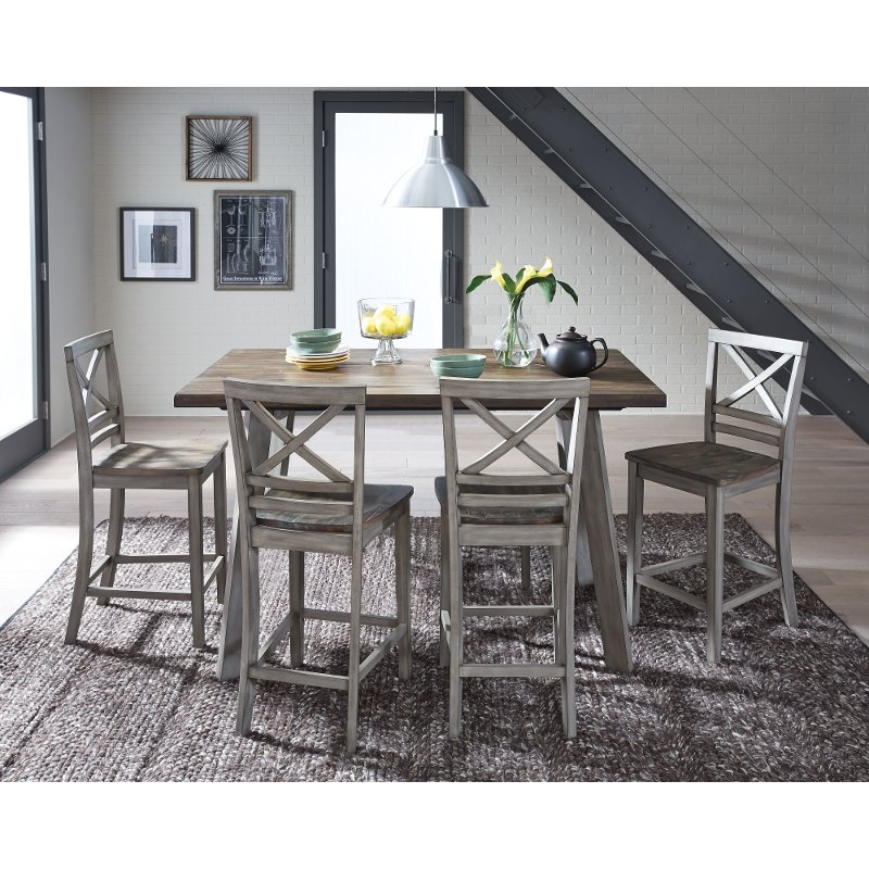 Rustic Gray And Oak 5 Piece Counter Height Dining Set