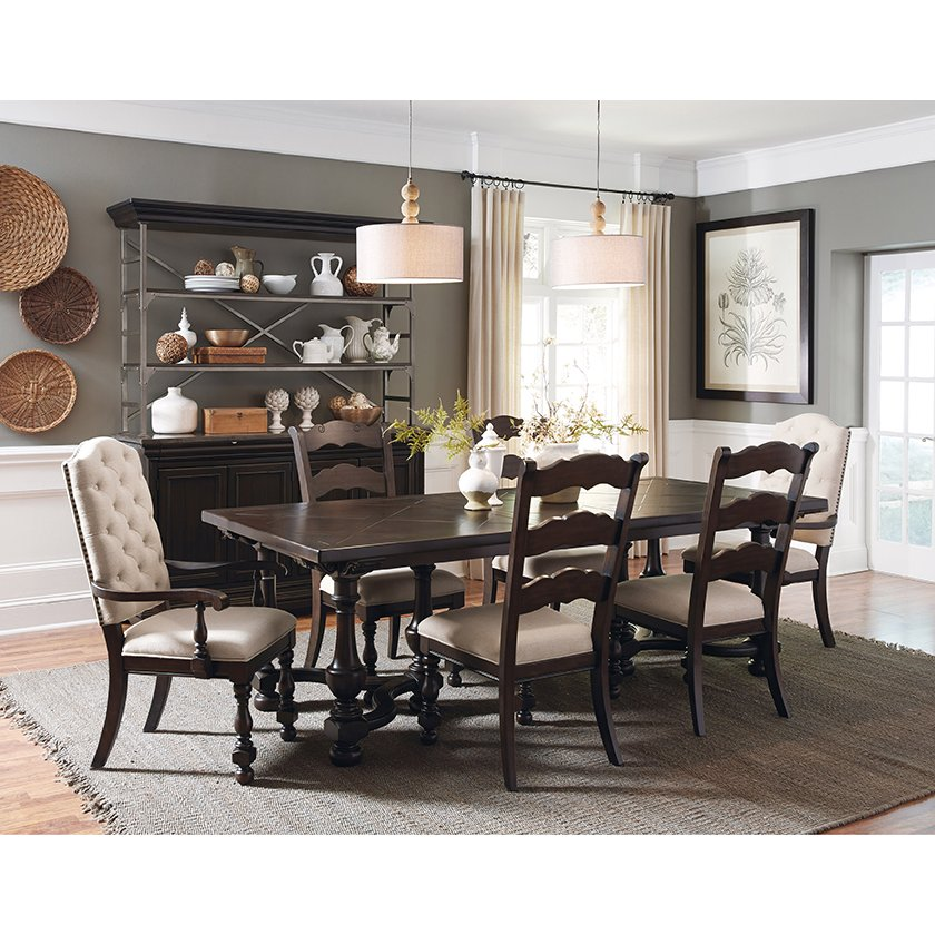 Brown Traditional 5 Piece Round Dining Set Cally: Smoked Molasses Traditional 5 Piece Dining Set