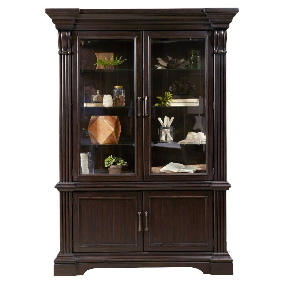 Charmant Smoked Molasses Traditional China Cabinet   Caldwell Collection