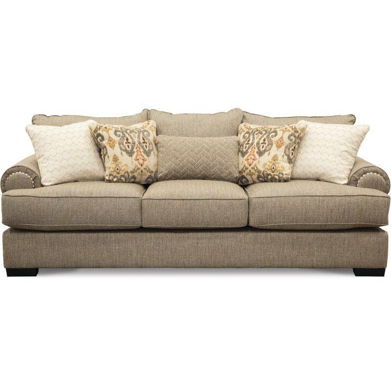 Lovely Casual Traditional Taupe Sofa - Bereta | RC Willey Furniture Store UH12