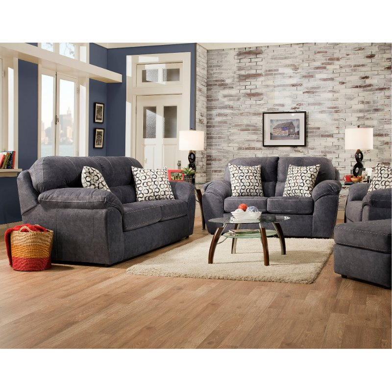 Casual Contemporary Steel Blue Living Room Set