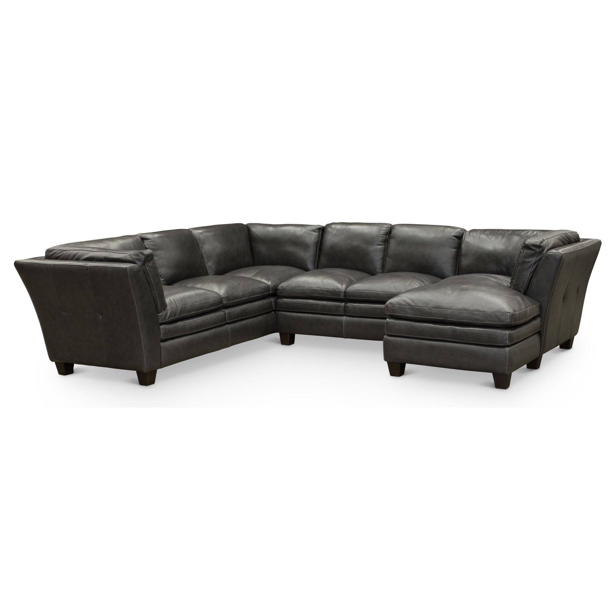 Ordinaire Contemporary Slate Gray Leather 3 Piece Sectional Sofa   Capri | RC Willey  Furniture Store