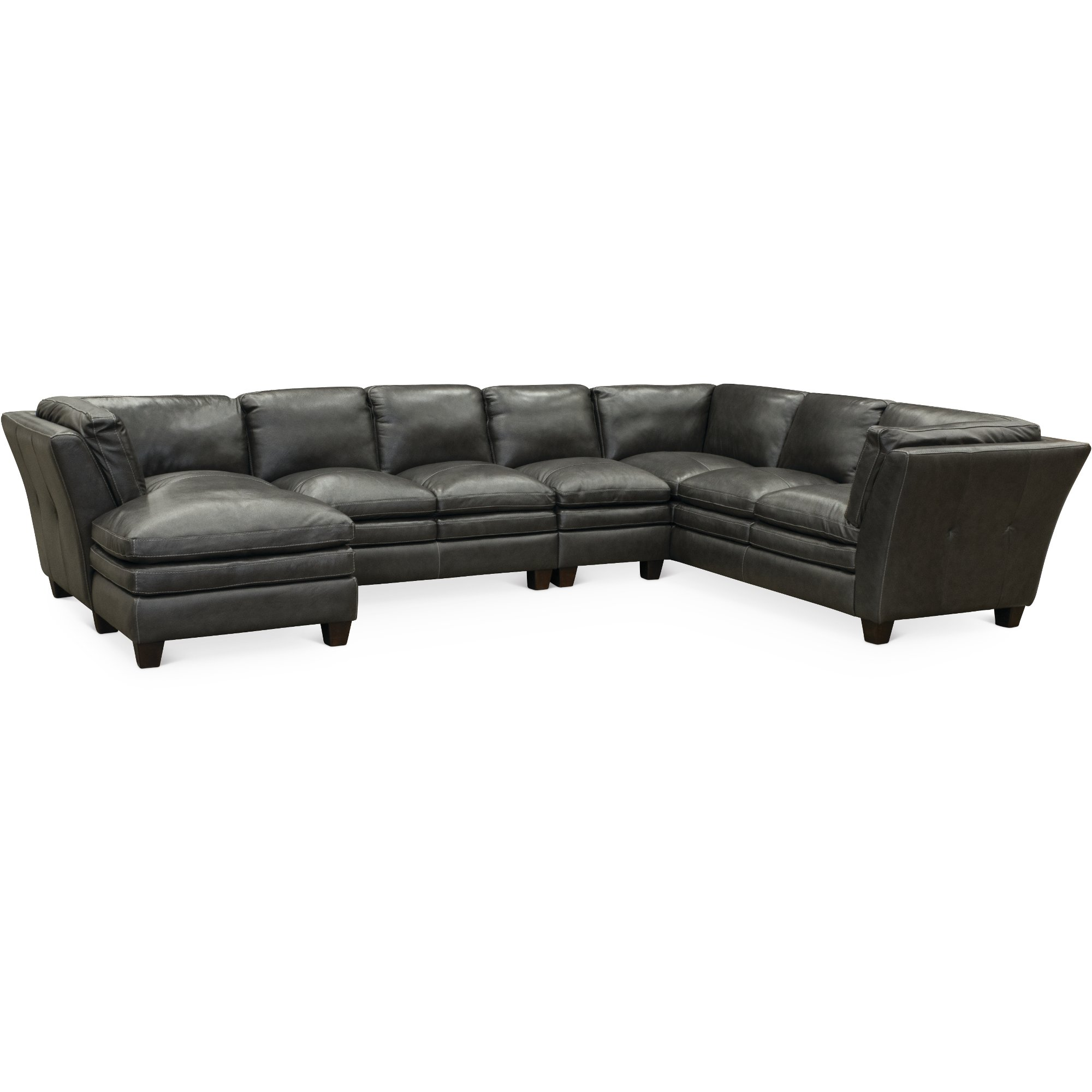 Charmant Contemporary Slate Gray Leather 4 Piece Sectional Sofa   Capri